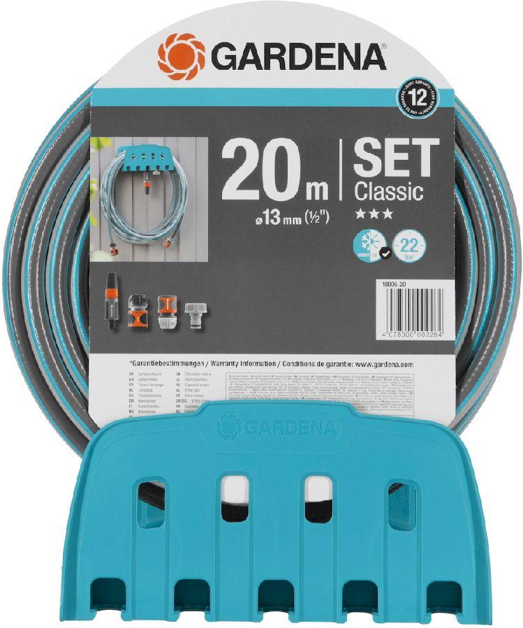 Gardena Classic 20 meter Ø 13 mm tuinslang met muurhouder en koppelingen