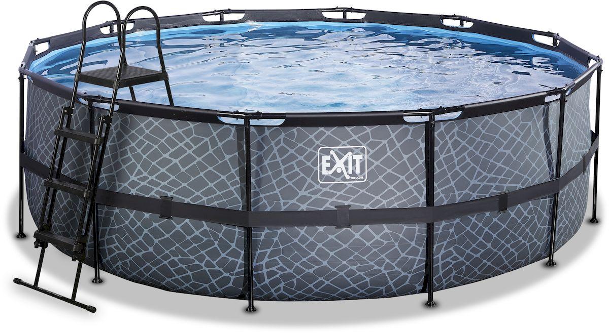 EXIT Stone zwembad 427 x 122 cm met zandfilterpomp en trap