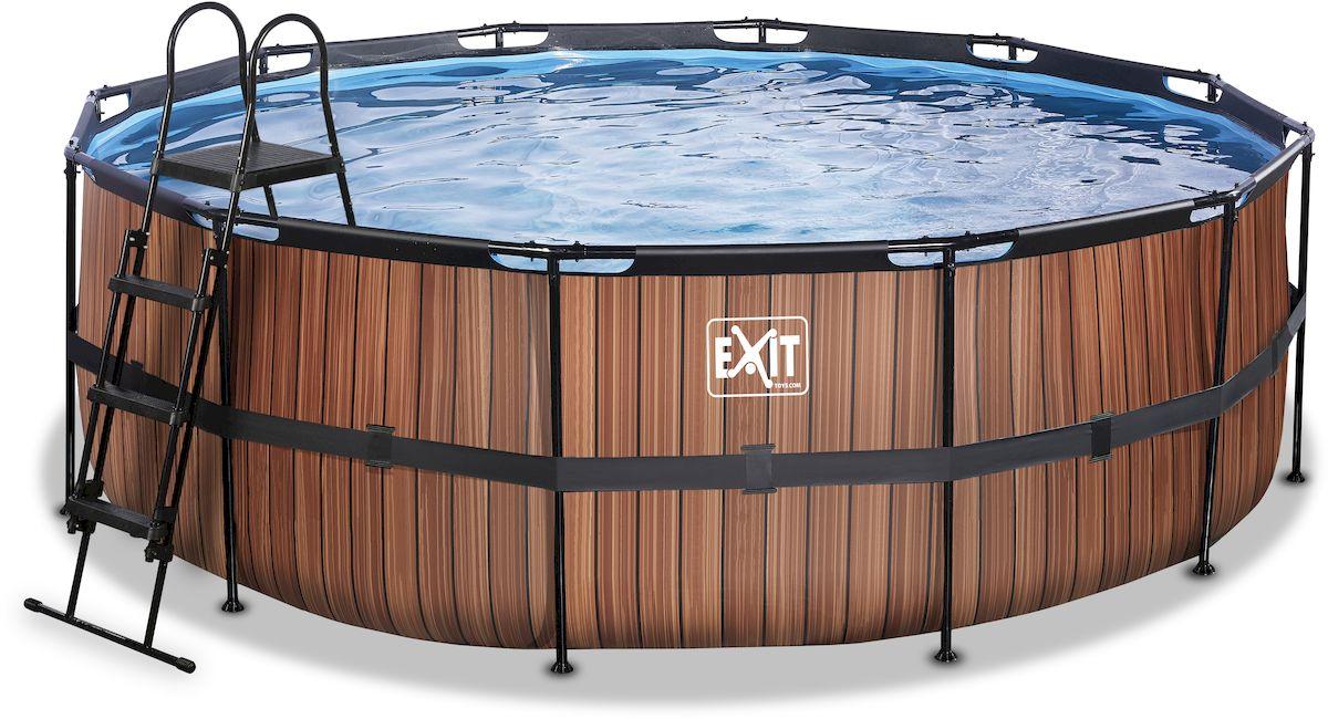 EXIT Wood zwembad 427 x 122 cm met zandfilterpomp en trap