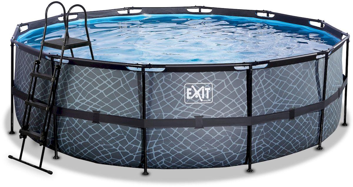 EXIT Stone zwembad 450 x 122 cm met zandfilterpomp en trap