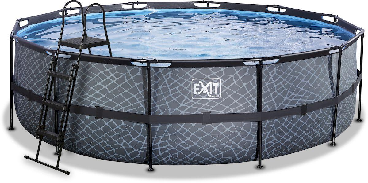 EXIT Stone zwembad 488 x 122 cm met zandfilterpomp en trap