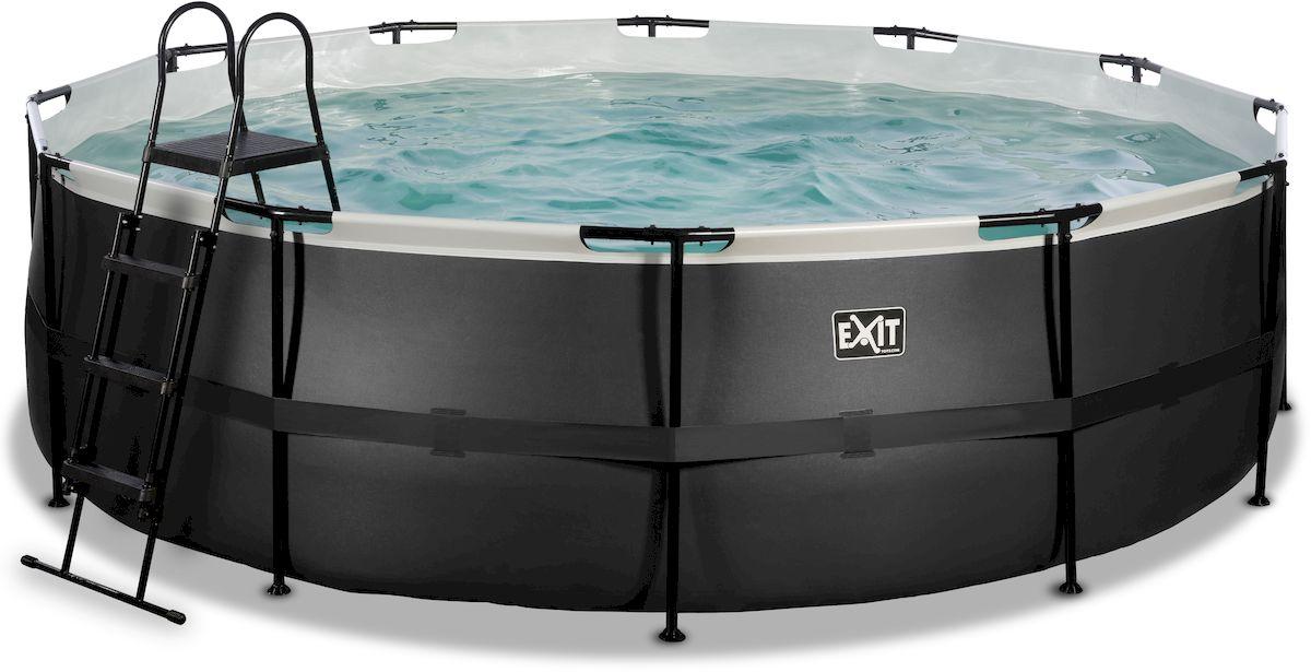 EXIT Black Leather zwembad 488 x 122 cm met zandfilterpomp en trap